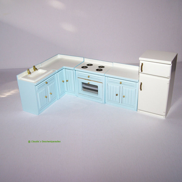 Miniatur Küche hellblau - Claudia`s Geschenkparadies